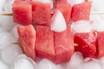 Refreshing Skewers of Watermelon with Ice