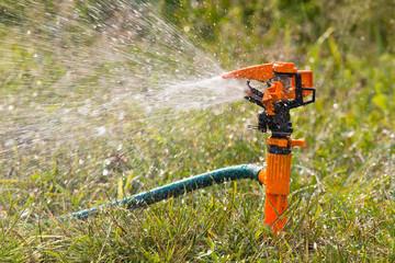 sprinkler spraying water in the garden