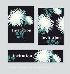 white autumn chrysanthemum flower card template. golden-daisy fl