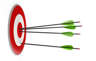 Target and arrows isolated on white background