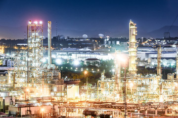 Oil and gas refinery plant at night, Petrochemical factory