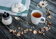 Cup of tea and meringue