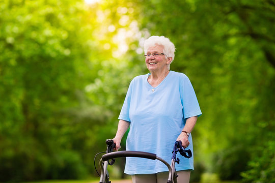 Senior lady with a walker
