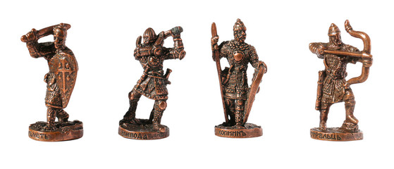 Metal toy figures of warriors, on the signature in the Old Slavo