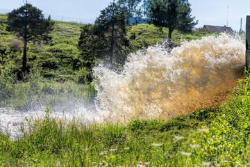 Dam Wall Water Power. Ecological disaster - dam break