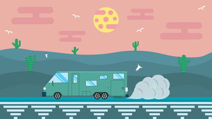 Illustration in flat design. Travel in house on wheels