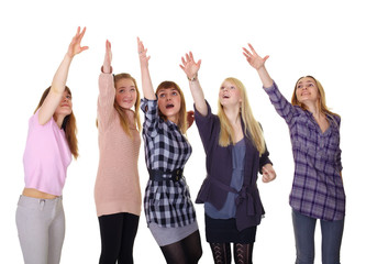 Girls pulling together hands up isolated on white background