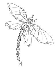 Zentangle stylized dragonfly.