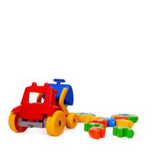 Color plastic toy bulldozer