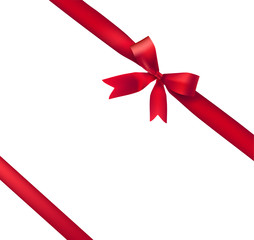 the red gift bow on a white background