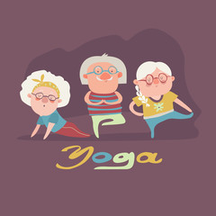 Senior people doing yoga exercise