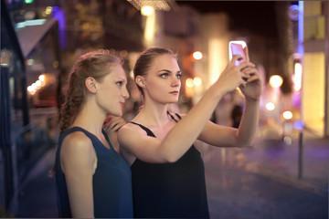 Blonde girls doing a selfie