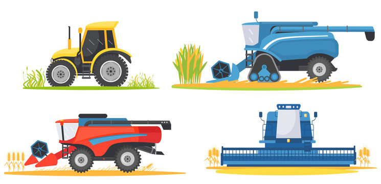 Farming agricultural machines and farm vehicles set. Farming machine harvester, combine and tractor.