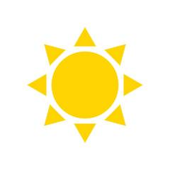 Flat icon yellow sun. Vector illustration.