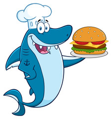 Chef Blue Shark Cartoon Mascot Character Holding A Big Burger