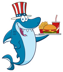 American Blue Shark Cartoon Mascot Character With Patriotic Hat Holding A Platter With Burger, French Fries And A Soda