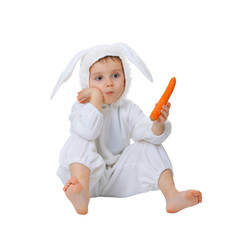 Child dressed as a rabbit with a carrot