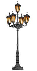 Antique lamp post on white