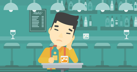 Man drinking at the bar vector illustration.