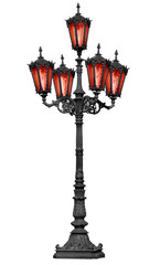 Old cast iron lamp post with red glass
