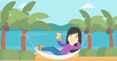 Woman chilling in hammock.