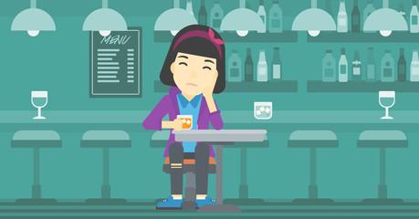 Woman drinking at the bar vector illustration.