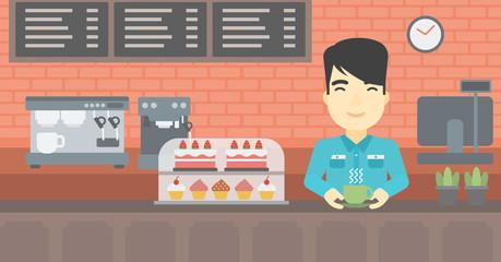 Man making coffee vector illustration.