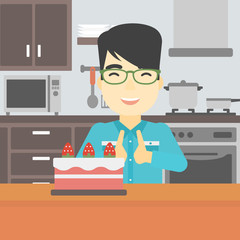 Man looking at cake with temptation.