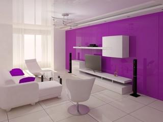 Comfortable modern living room with hi-tech design.