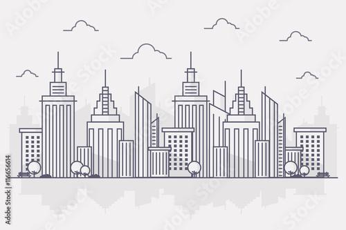 Line Art City : Quot line art vector illustration of modern big city