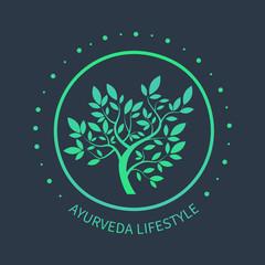 TVector tree logo. Ayurvedic symbol on dark beckground. Ayurvedic emblem for alternative spa design