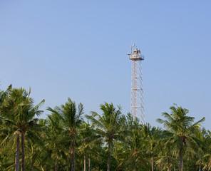 Modern lighthouse on Gili island. Indonesia.