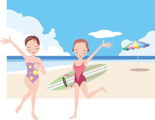若い女性が砂浜ではしゃぐ