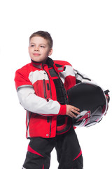 Race car or bike driver. The boy in the costume of the racer isolated on white background