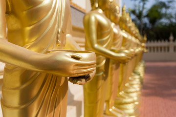close up of hand's buddha statue in Thailand
