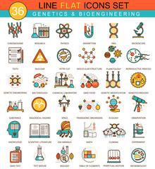 Vector Genetics and biochemistry technology flat line icon set. Modern elegant style design for web.