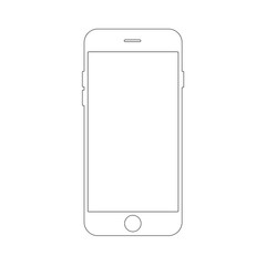 Outline drawing smartphone concept. Elegant thin line design.