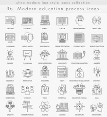Vector Modern online education ultra modern outline line icons for web and apps.
