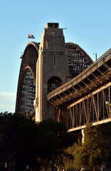 Sydney Harbour Bridge from The Rocks. Harbour Bridge is one of the most famous landmarks in Sydney.
