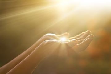 Leinwandbilder - Respect and pray, human hands on nature background