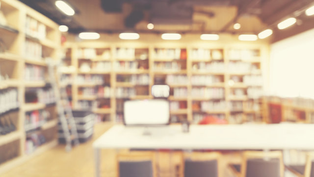 Blurred abstract interior background. blur library room  for your design - vintage color style