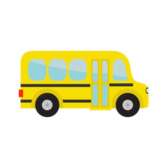 Yellow school bus kids. Cartoon clipart. Transportation. Baby collection. Side view. Flat design. Isolated. White background.