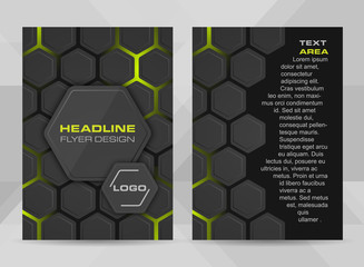 Flyer design A4 sizer cover brochure template or corporate banner with hexagonal structure.