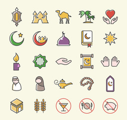 Set of 25 Minimalistic Solid Coloured Islamic Icons. Isolated