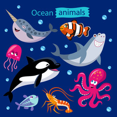 Vector set of cartoon ocean animals on a dark background. Childish illustration of narwhal, whale, shark, jellyfish, shrimp, octopus and clown fish.