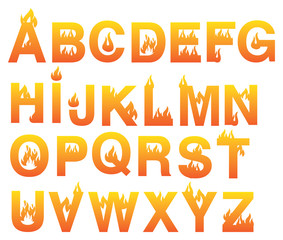 Fiery Alphabets Vector Font Set