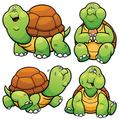 Vector illustration of Cartoon Turtle Character Set