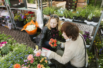 Mature women buying flower plants in nursery