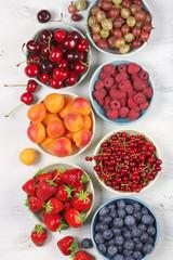 Various fruits in bowls