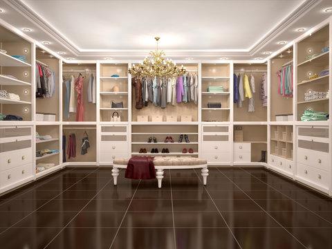luxury wardrobe in modern style. 3d illustration.